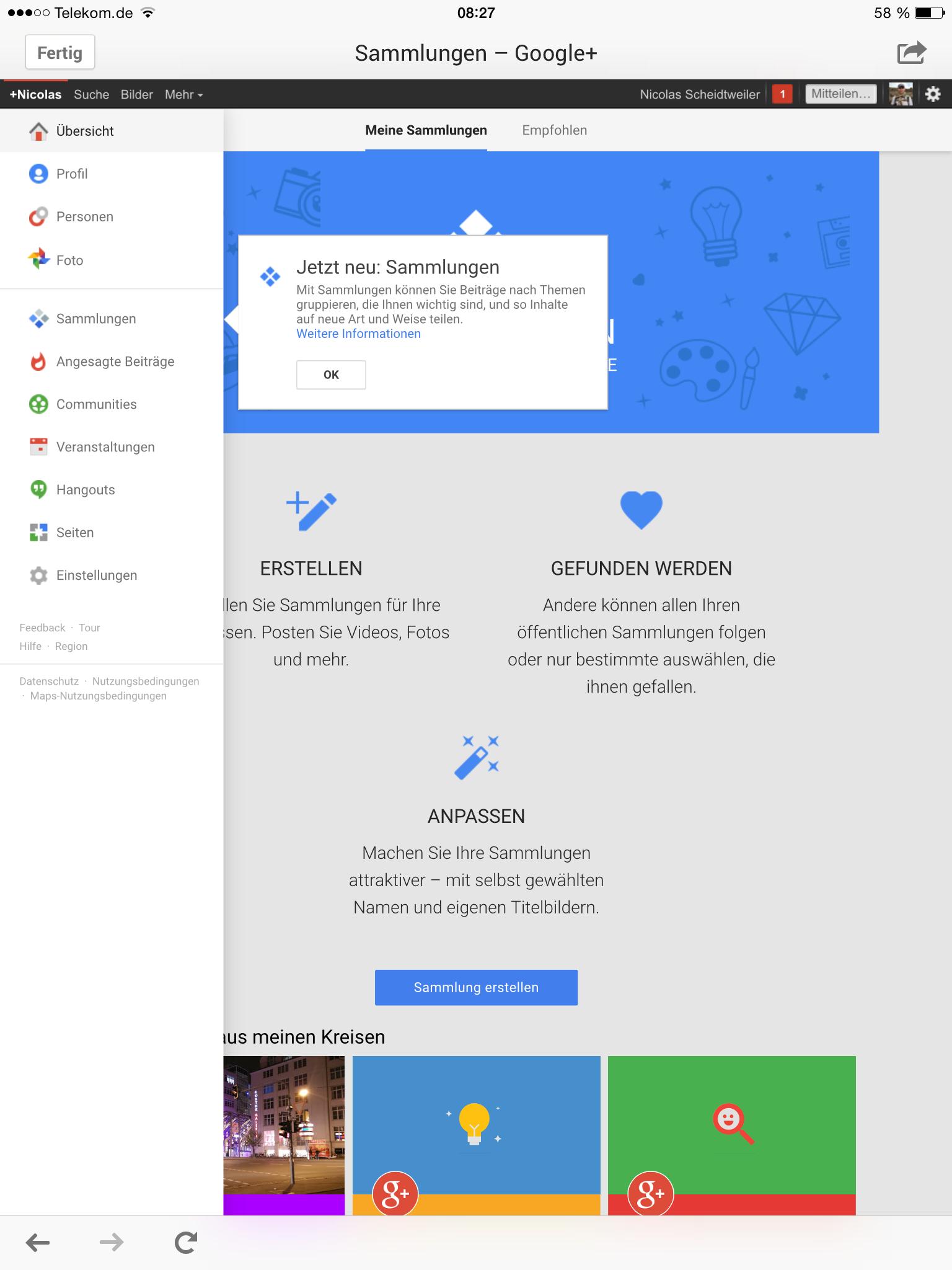 Screenshot Googleplus-Sammlung