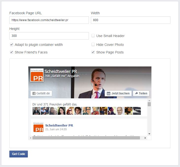 Einstellungen Facebook Page Plugin