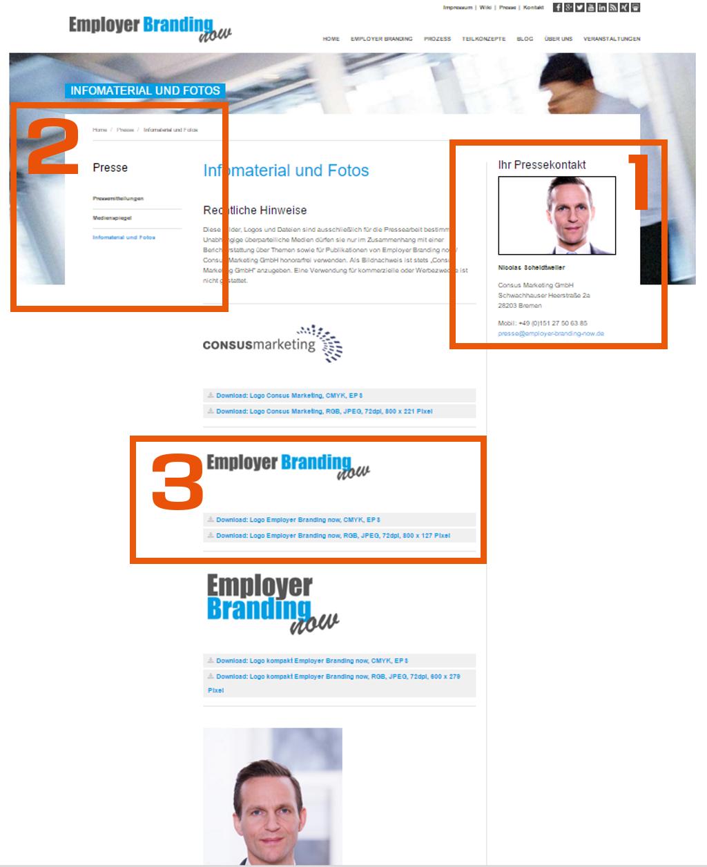 Employer Branding now - Pressedownloads - Pressebereich auf der Webseite