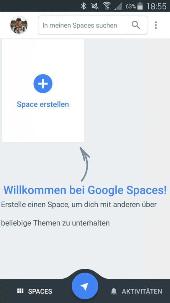 Google Spaces App - 1 - Anmelden