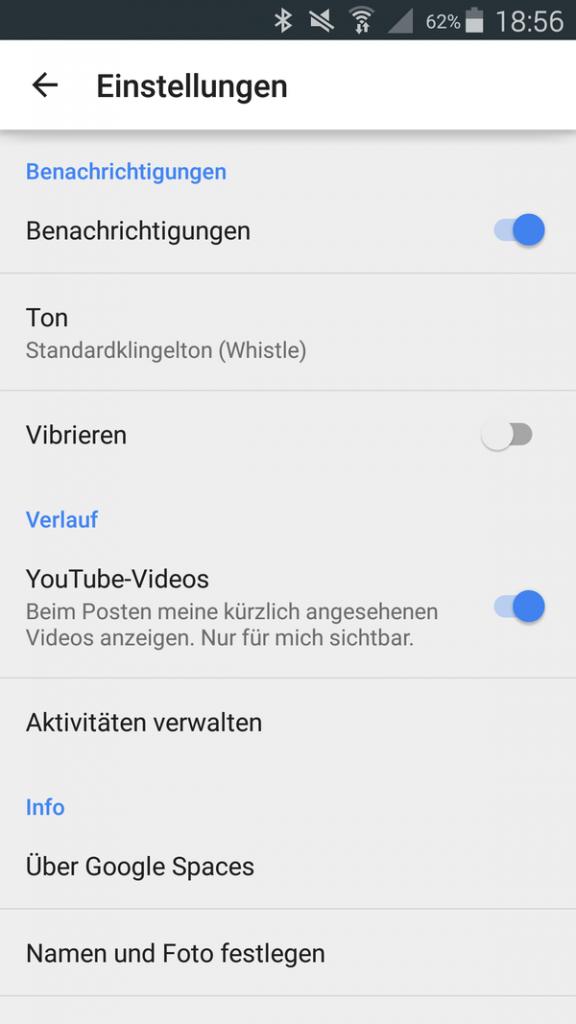 Google Spaces App - 2 - Einstellungen