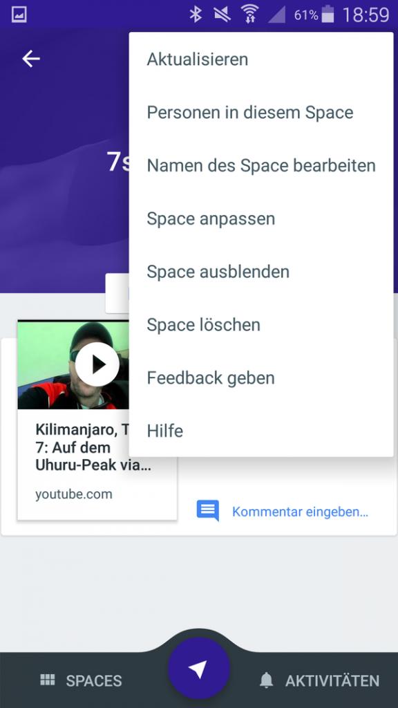 Google Spaces App - 4 - Space anpassen