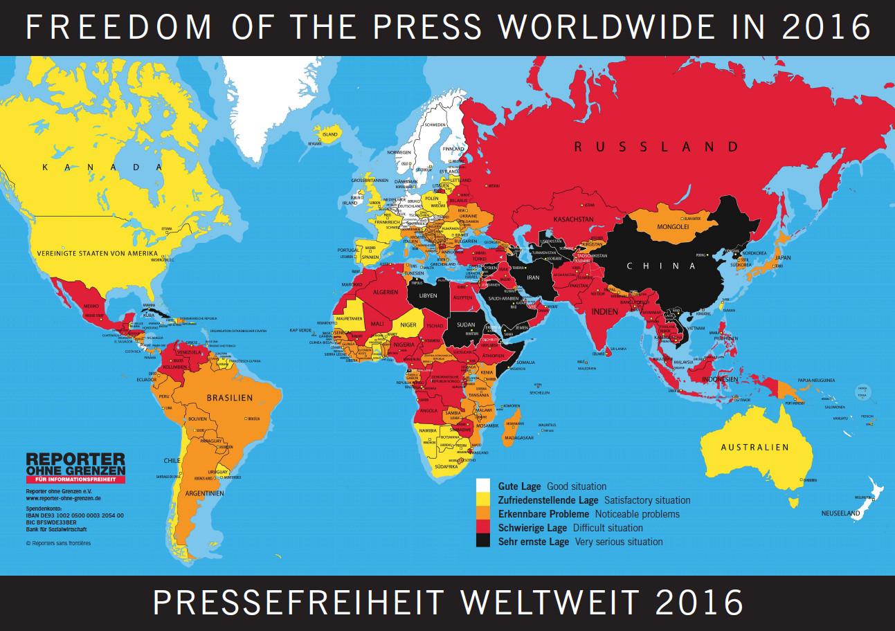 Reporter ohne Grenzen - Heatmap Pressefreiheit 2016