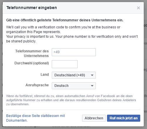 Facebook-Seite verifizieren - Telefonnummer eingeben