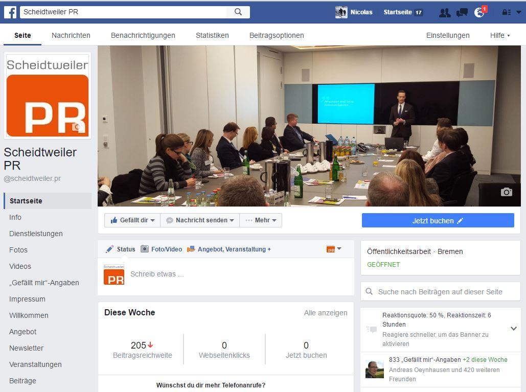 Facebook für Unternehmen mit neuem Seitenlayout