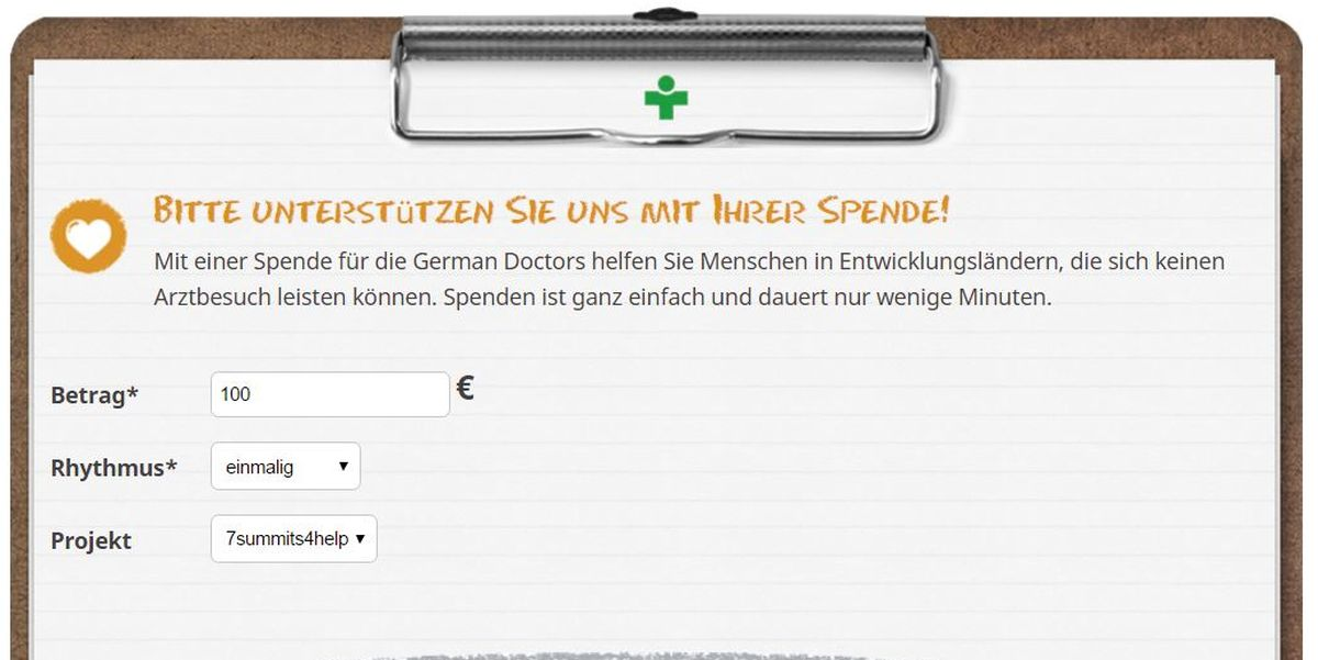 Screenshot: 7summits4help-Spendenformular