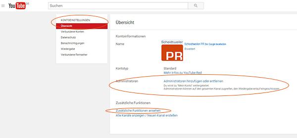 Youtube-Kanal verknüpfen und bestätigen - Schritt 2 - Zusätzliche Funktionen