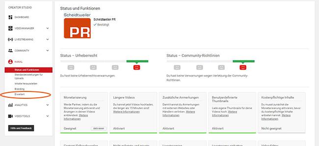 Youtube-Kanal verknüpfen und bestätigen - Schritt 3 - Reiter Erweitert