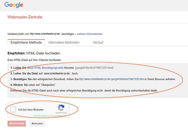Youtube-Kanal verknüpfen und bestätigen - Schritt 5 - HTML-Datei hochladen