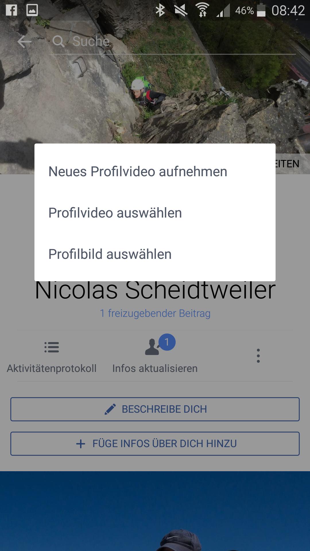 Screenshot: Das Facebook-Profil-Bild als Video - Und es bewegt sich doch - PR-Blog Bremen - Schritt 1