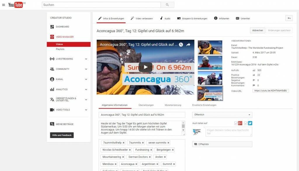 Grafik: Youtube-Video-Infos und Einstellungen bei 7summits4help - PR-Newsletter