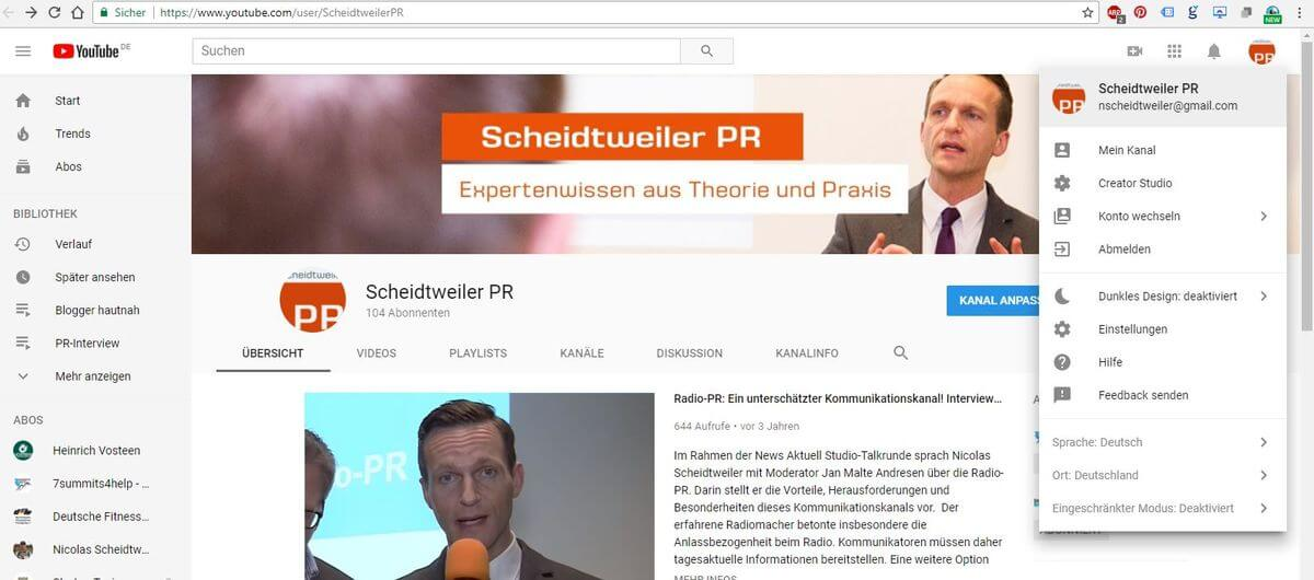 Unternehmen bei Youtube - 01 - Zu den Einstellungen - Zahnrad