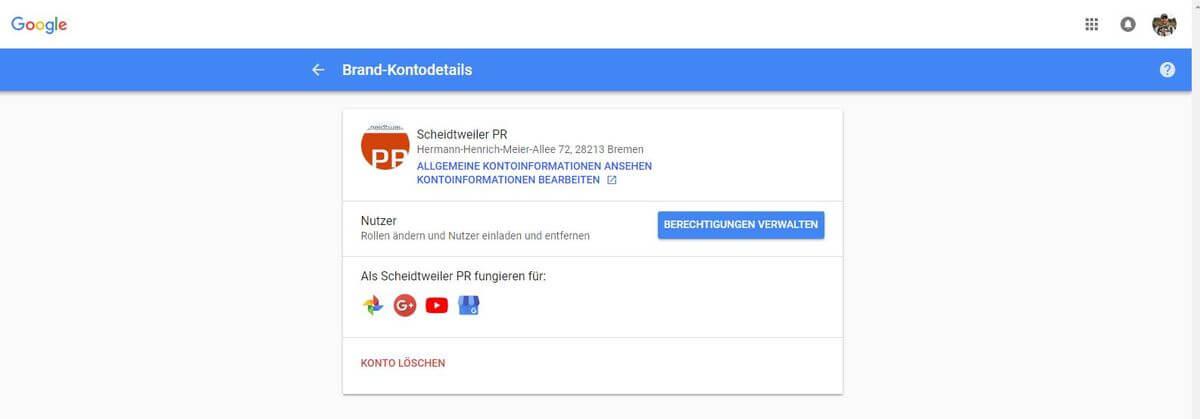 Unternehmen bei Youtube - 03 - Brand-Konto-Details