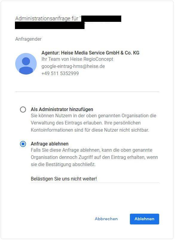 Heise Media Service GmbH Anfrage ablehnen auf Google My Business - PR-Blog