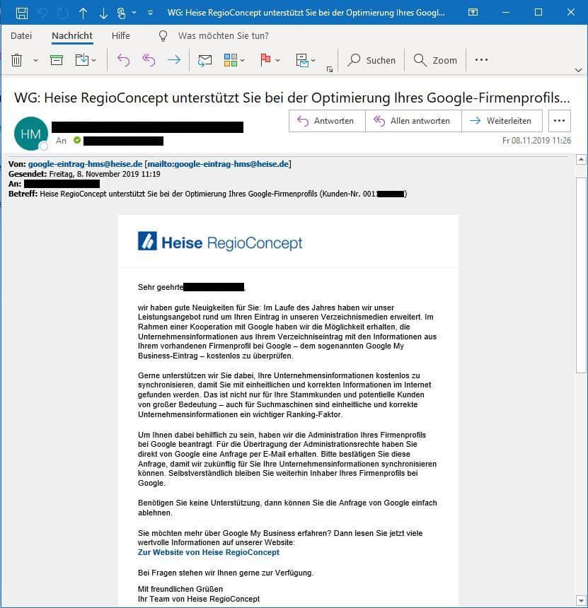 Heise RegioConcept aggressiv bei Google My Business - PR-Blog