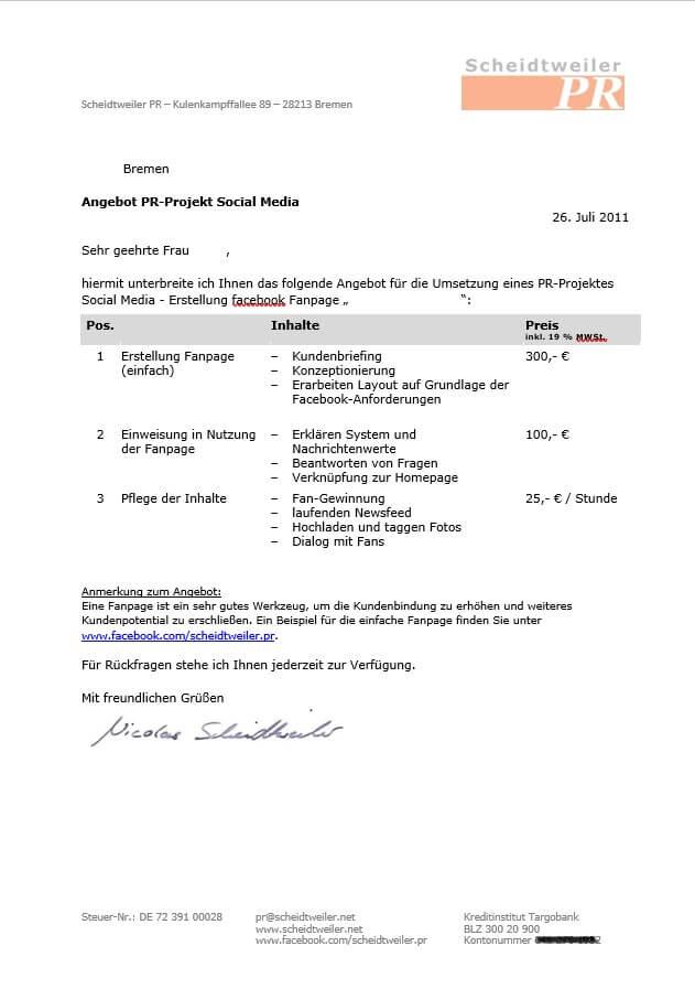 Das erste Angebot von Nicolas Scheidtweiler vom 26. Juli 2011.